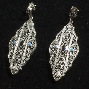 Exquisite Genuine Sapphire Filigree Earrings
